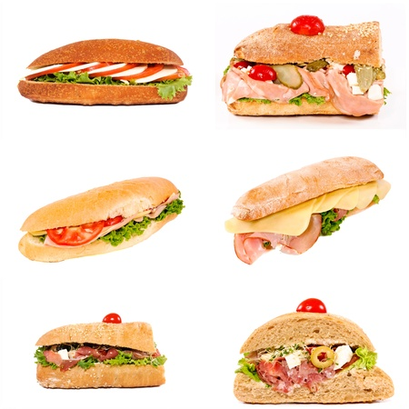 Sandwiches variation isolated on white collage photo