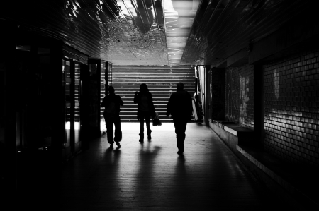 People in the tunnel in black and white technique Stock Photo - 15913375