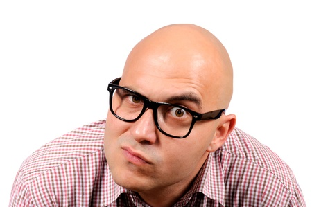 only mid adult men: Curiosity man with the shaved head Stock Photo