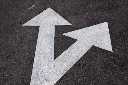 Forward and right signs on the road Stock Photo