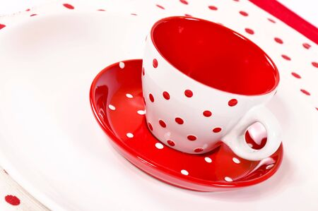 Red and white empty coffee cup Stock Photo - 16137463