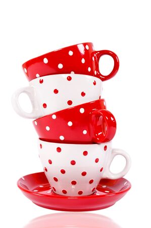 houseware: Tower from the red and white empty cups Stock Photo