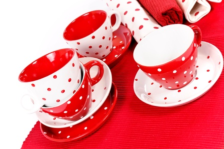 Empty cups and decorative rags Stock Photo - 16137396