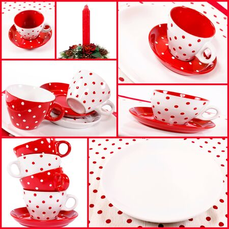 Crockery and candle in collage Stock Photo - 16137416
