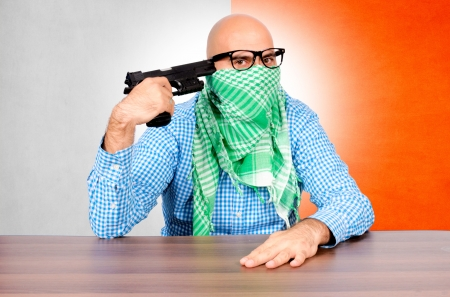 The man has the intention to kill himself Stock Photo - 16129216