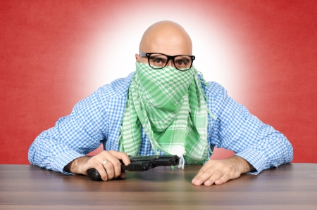 Bald terrorist in vintage technique  Stock Photo - 16129214