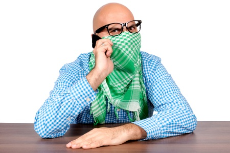Angry terrorist negotiate over the phone Stock Photo - 16129205