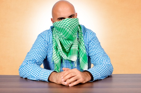 Bald guy wearing the scarf Stock Photo - 16129213