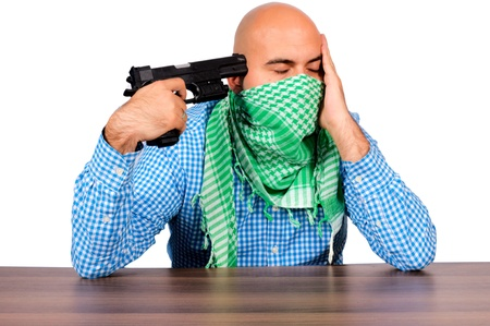 Bald man point gun in himself. Stock Photo - 16129207