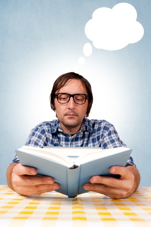 Students read books and prepare for the exam. selective focus on the man head. Stock Photo - 16191405