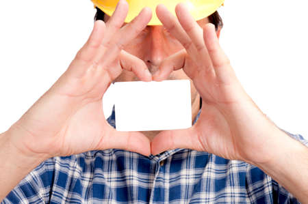 Man holding the blank card in the form of heart, Selevtive focus on the blank card, Stock Photo - 16191398