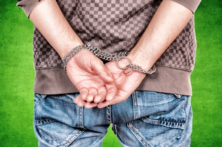 Man holding chain on his hands Stock Photo - 16215815