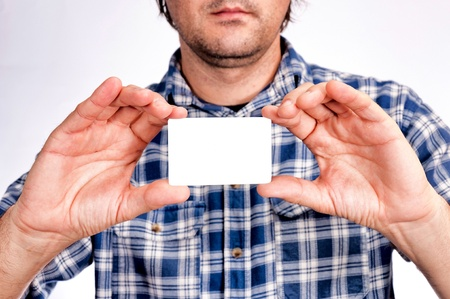 Man holding the blank white card Stock Photo - 16215824