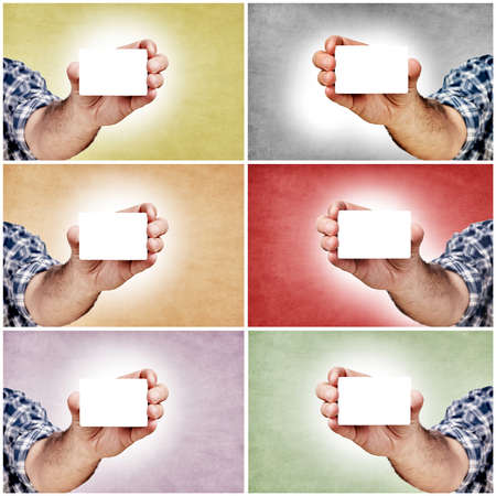 Hand and blank white cards in different colors Stock Photo - 16435374