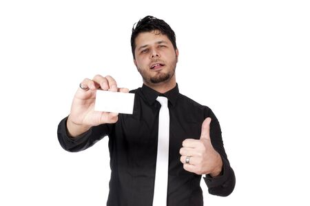 Man holding the blank white card isolated Stock Photo - 16382273