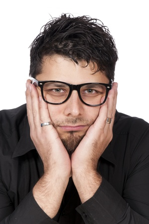 Portrait of a worried man isolated on white Stock Photo - 16382280