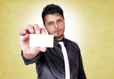 Selective focus on the blank white card Stock Photo - 16382287