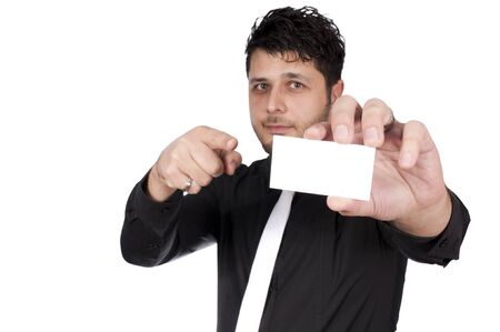 Selective focus on the hand with the blank card Stock Photo - 16382275