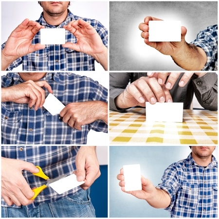 Man with the blank white card Stock Photo - 16433453