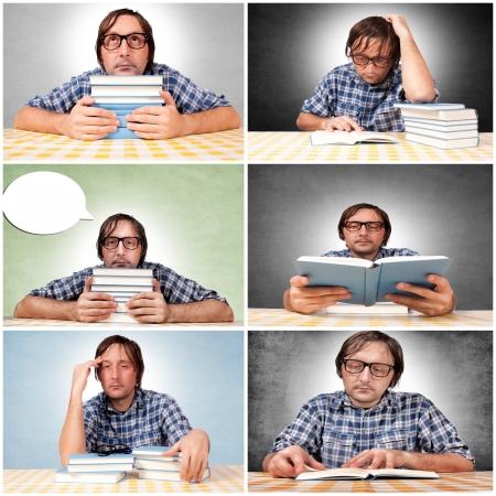 Man is chilling with the books Stock Photo - 16433494