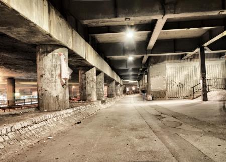 urban urban: Night scene in the scary tunnel in Belgrade