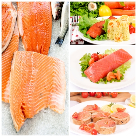 Raw and prepared salmon with the vegetables Stock Photo - 16514361