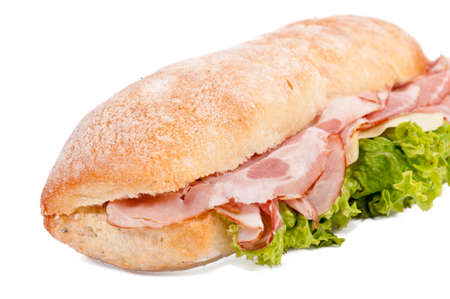 Ham sandwich isolated on white background photo