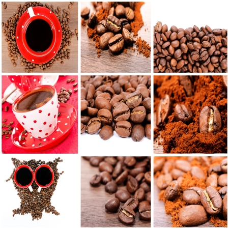 Cup of coffee and raw beans photo