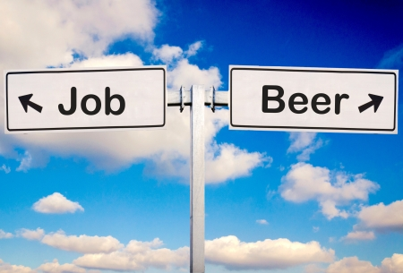 scruple: Beer or job sign over the sky Stock Photo