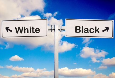 scruple: White or Black sign over the sky