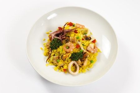 Yellow rice wit the fresh seafood Stock Photo - 16797471