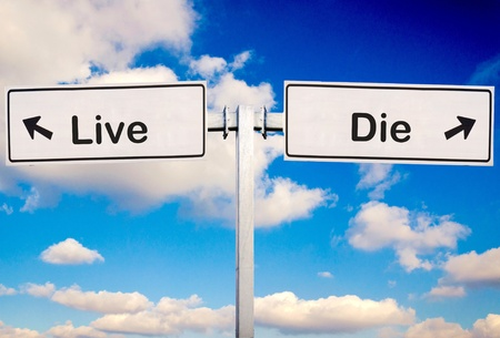 scruple: Live or die sign over the sky