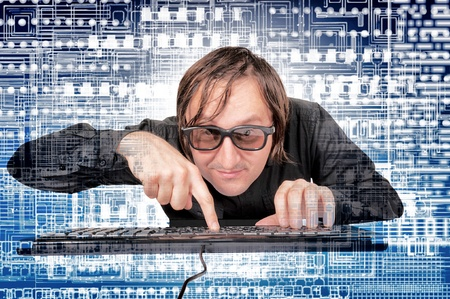 hacker: Man in the world of the new technology  Stock Photo