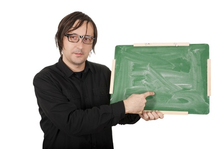 Man showing the finger on the green blank school board Stock Photo - 16844416