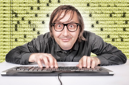 Funny hacker is preparing to hack system Stock Photo - 16844443