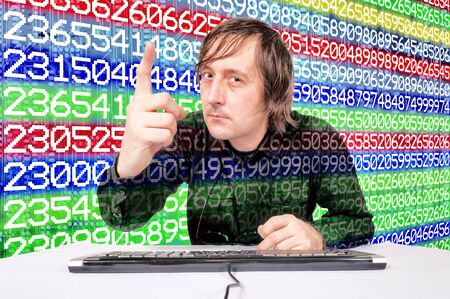 Man pointing finger on the number background Stock Photo - 16844441