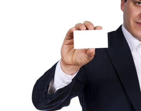 Man holding blank calling card isolated on white background photo