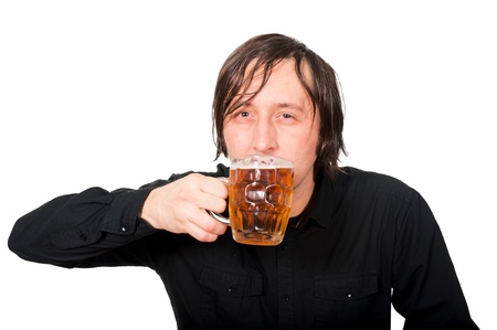 Man drinking the pint of beer Stock Photo - 16981964