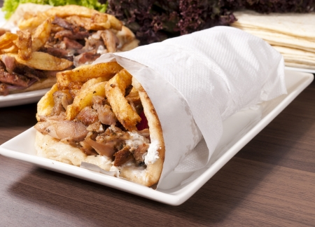 doner: Grilled meat and vegetables  Stock Photo