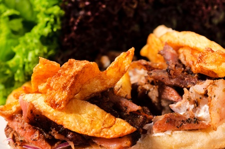 French fries and meat close up Stock Photo - 17044175