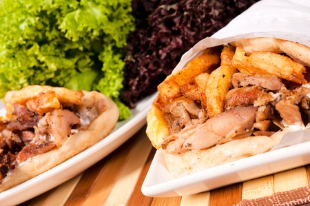 sandwiche: Selective focus on the right doner kebab