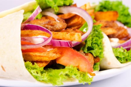 sandwiche: Selective focus on the content of gyros