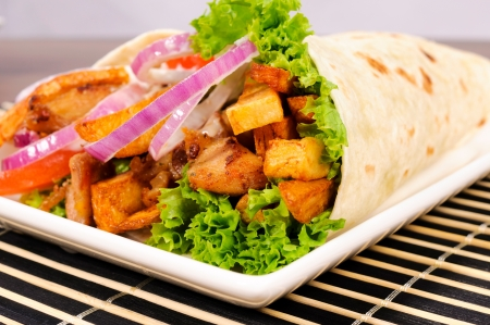 sandwiche: Selective focus in the middle of doner kebab Stock Photo