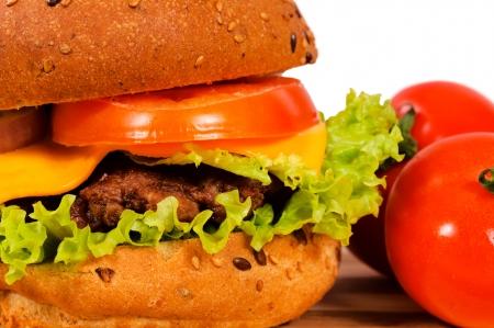 Close up to tasty hamburger photo