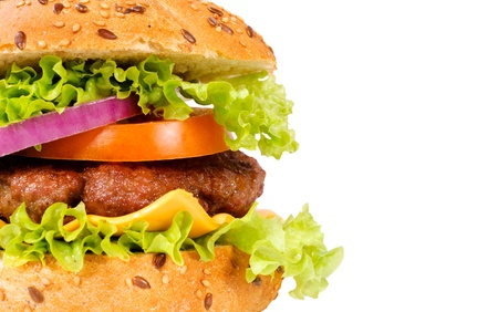 Selective focus on the meat in hamburger Stock Photo - 17093327