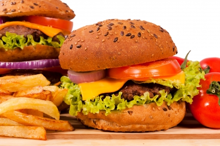 Selective focus on the right cheeseburger Stock Photo - 17108232