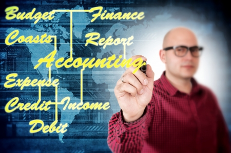Man writing accounting concept Stock Photo - 21487418