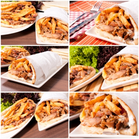 Prepared gyros ready to be served photo