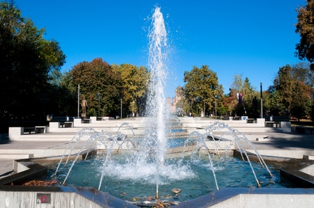 Fountain in the autumn time photo
