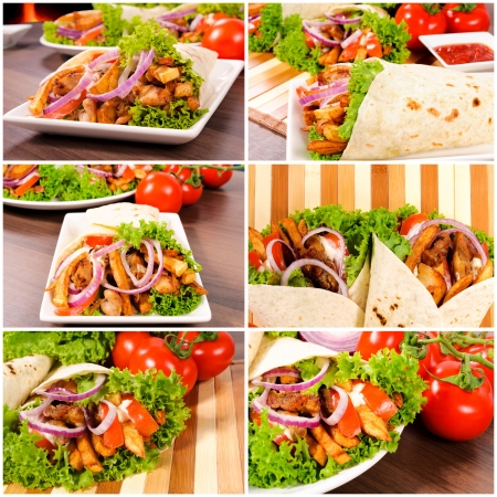 turkish kebab: Gyros pita with fresh vegetables Stock Photo